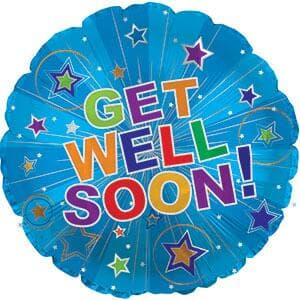 "Get Well Soon Silver Burst. 9""(23cm)  with valve.incl cup/stick"