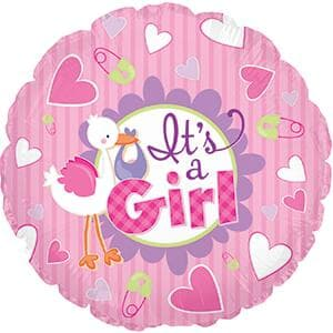 "Its's A Girl Stork. 9""(23cm) with valve inc cup/stick"
