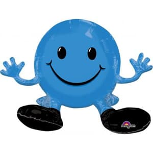 Sitting Smiling Face Blue Multi Balloon 48cm x 33cm