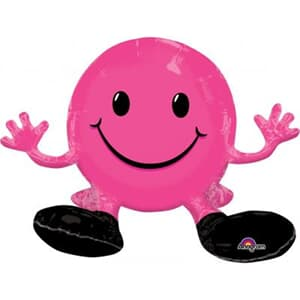 Sitting Smiling Face Hot Pink Multi Balloon 48cm x 33cm