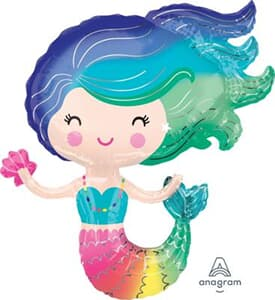 Colourful Mermaid Foil Balloon Shape 73cm x 76cm New