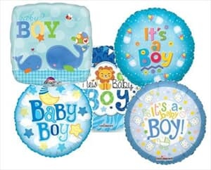 23cm Printed Foils Inflated Assorted Boy Designs
