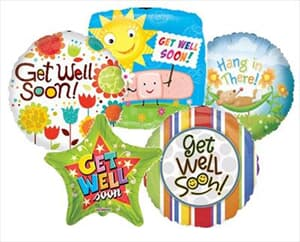 23cm Printed Foils Inflated Assorted Get Well Designs