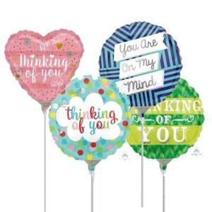 "Assorted 4"" (10cm) Printed Foil Balloons Flat Thinking Of You."