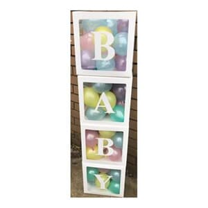 Baby Box Set of 4 x 30cm clear sided boxes with stick on letters