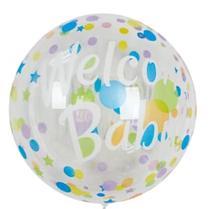 "Bobo Balloon Balls Welcome Baby Dots and Stars 18"" - 45cm"
