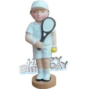 Resin Tennis Player Topper and Happy Birthday Motto