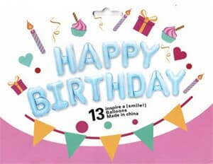 "Happy Birthday Kit Set Light Blue 13 x 16"" 40cm Letters ribbon/straw  included"