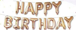 "Happy Birthday Kit Set Rose Gold 13 x 16"" 40cm Letters -Ribbon/straw included"