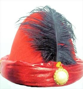 Hat Mongolian Red with Black Feather