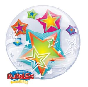 Multi Coloured Stars Double Bubble 60cm