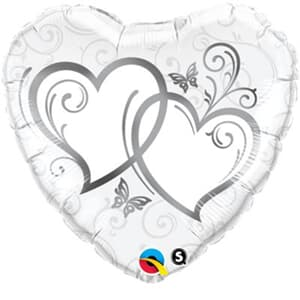 Qualatex Balloons Entwined Hearts Silver 45cm