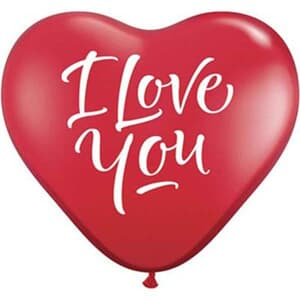 Love You Script Modern Ruby Red Heart 15cm