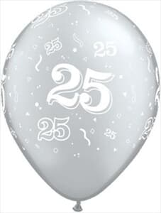 Qualatex Balloons 25 Around Silver 28cm