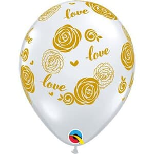 Qualatex Balloons Gold Love Roses D/clear 28cm