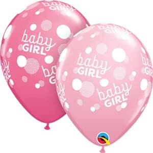 Qualatex Balloons Baby Girl Pink and Rose Dots around 28cm