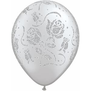 Qualatex Balloons Glitter Roses Around Silver 28cm