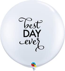 Qualatex Balloons Simply Best Day Ever White 90cm