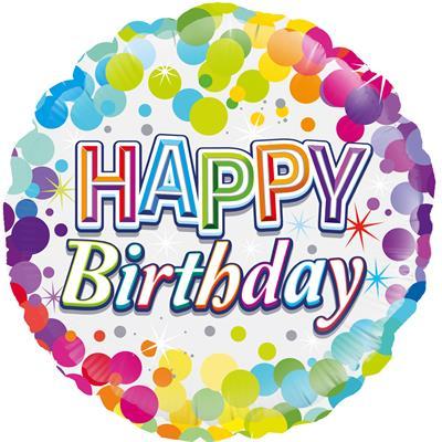 Oaktree Colourful Confetti Birthday 45cm Foil