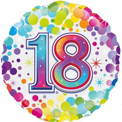 Oaktree 18th Colourful Confetti Birthday 45cm Foil