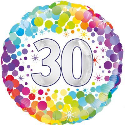Oaktree 30th  Colourful Confetti Birthday 45cm Foil