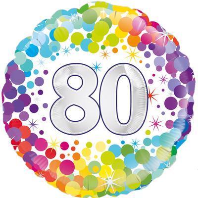Oaktree 80th  Colourful Confetti Birthday 45cm Foil