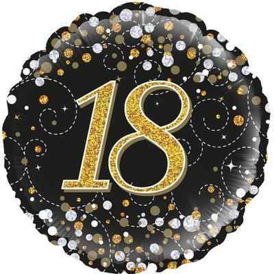 Oaktree 18th Sparkling Fizz Birthday Black and Gold 45cm Foil