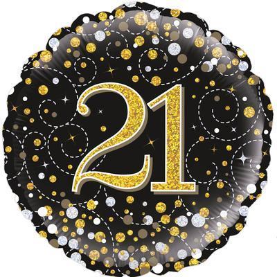 Oaktree 21st Sparkling Fizz Birthday Black and Gold 45cm Foil