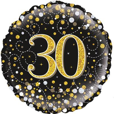 Oaktree 30th Sparkling Fizz Birthday Black and Gold 45cm Foil