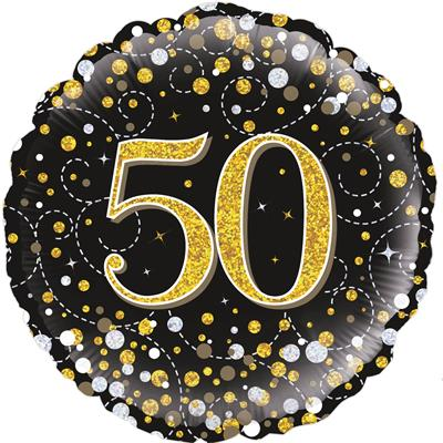Oaktree 50th Sparkling Fizz Birthday Black and Gold 45cm Foil