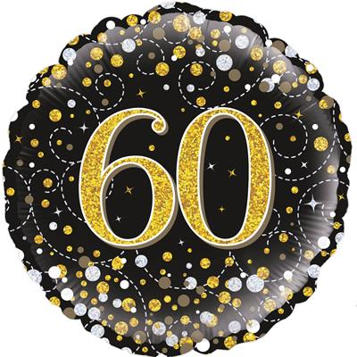Oaktree 60th Sparkling Fizz Birthday Black and Gold 45cm Foil