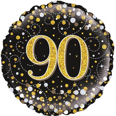 Oaktree 90th Sparkling Fizz Birthday Black and Gold 45cm Foil