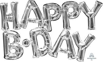 SupeShape Phrase HAPPY  BDAY Silver 76cm x 48cm