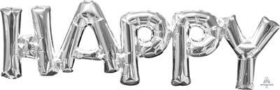 SuperShape Phrase HAPPY Silver 66cm x 25cm