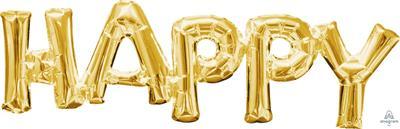SuperShape Phrase HAPPY  Gold 66cm x 25cm