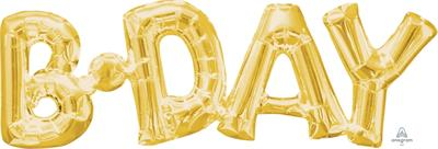SuperShape Phrase BDAY  Gold 66cm  x 22cm