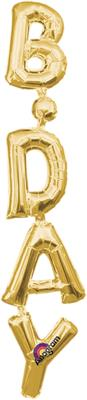 SuperShape Phrase Vertical BDAY Gold 20cm x 96cm