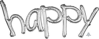 "Freestyle Phrase ""happy"" Silver 104cm x 50cm"