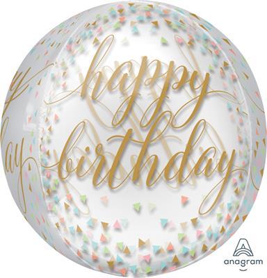 ORBZ Pastel Confetti Clear Happy Birthday 43cm x 45cm  ETA 17/7/2019