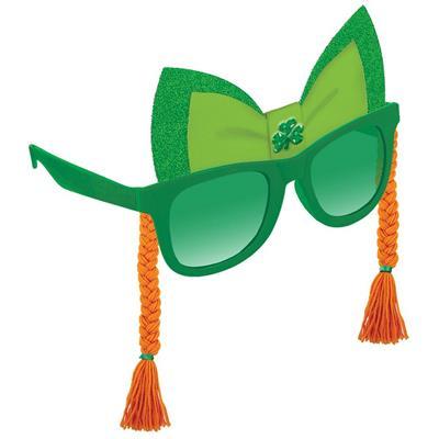 St Patricks Glasses with Jewel Shamrock and  Orange Braids