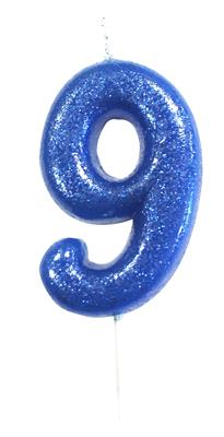 Candle Blue Glitter Numeral 9 - 7cm tall