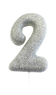 Candle Silver Glitter Numeral 2 - 7cm tall