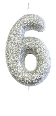 Candle Silver Glitter Numeral 6 - 7cm tall