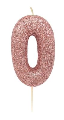 Candle Rose Gold Glitter Numeral 0 - 7cm tall