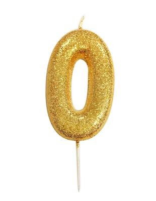Candle Gold Glitter Numeral 0 - 7cm tall