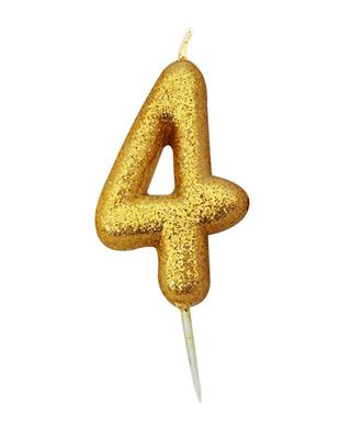 Candle Gold Glitter Numeral 4 - 7cm tall