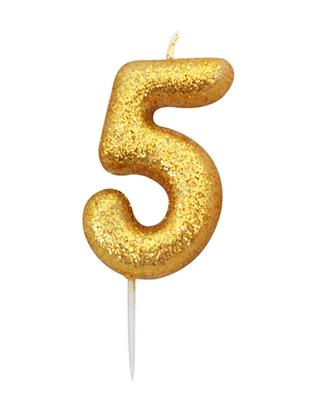 Candle Gold Glitter Numeral 5 - 7cm tall