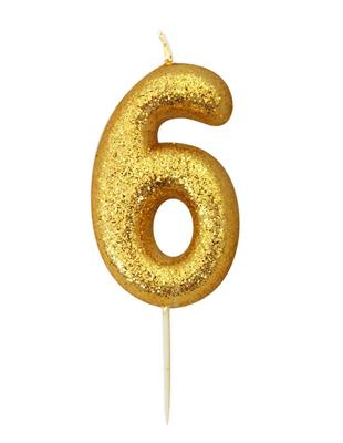 Candle Gold Glitter Numeral 6 - 7cm tall