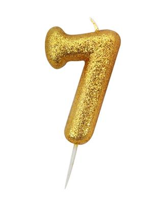Candle Gold Glitter Numeral 7 - 7cm tall