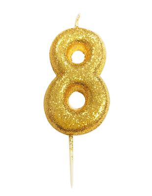 Candle Gold Glitter Numeral 8 - 7cm tall